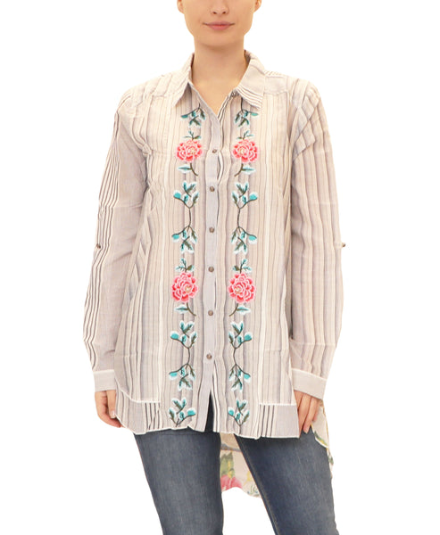 Embroidered Hi-Lo Shirt w/ Floral Back