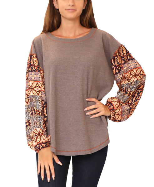Waffle Knit Top w/ Print Sleeves - Fox's