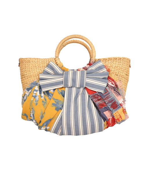 Mix Media Straw Handbag