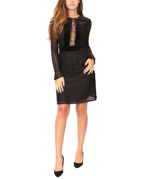 Lace Dress w/ Velvet Insets - Fox's