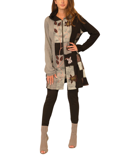 Patchwork Zip Front Tunic Top w/ Hood