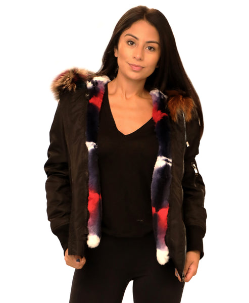 Zoom view for Bomber Jacket w/ Multicolor Rex Rabbit & Fox Fur