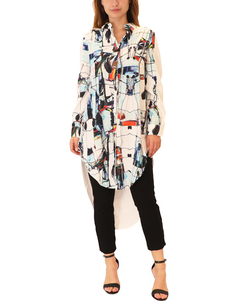 Hi-Lo Printed Tunic Top