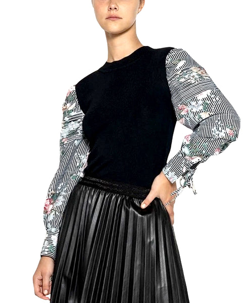 Zoom view for Top w/ Floral & Stripe Sleeves A