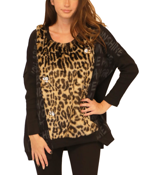 Top w/ Leopard Faux Fur & Rhinestones - Fox's