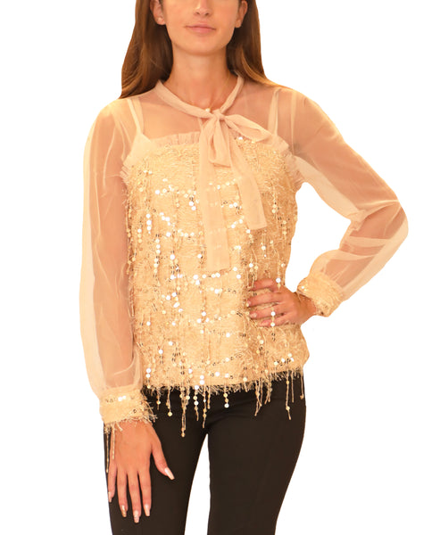 Mesh Blouse w/ Eyelash Fringe & Sequins - Fox's