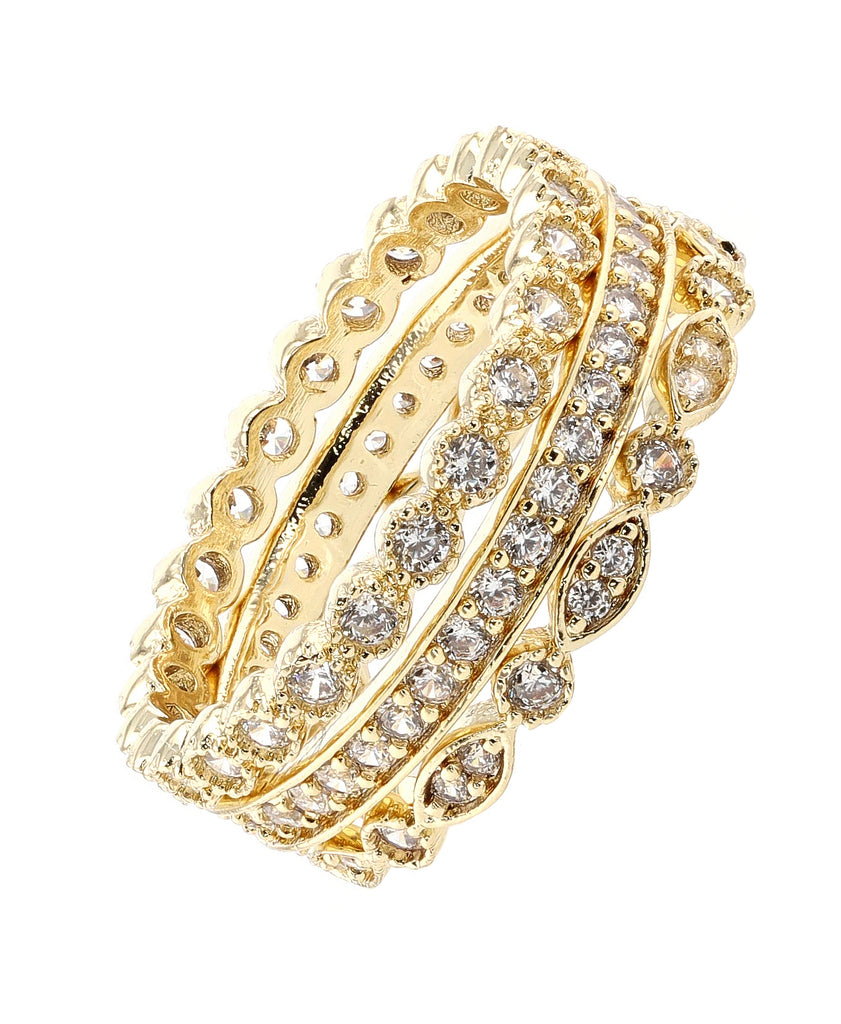 3-Piece Cubic Zirconia Eternity Ring Set