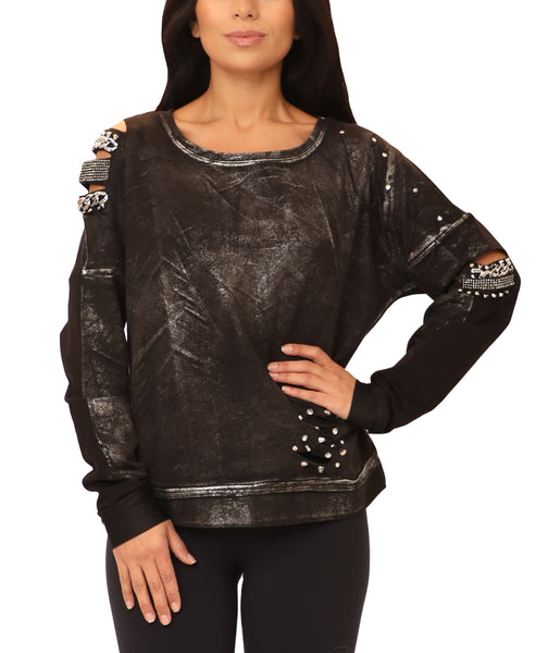 Cold Shoulder Sweatshirt w/ Chains & Studs - Fox's