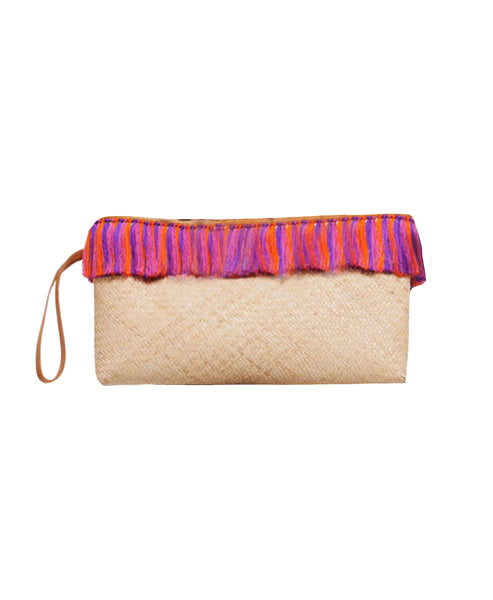 Zoom view for Straw Clutch w/ Fringe
