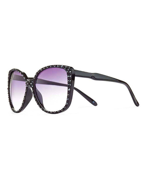 Oversized Sunglasses w/ Swarovski Crystals