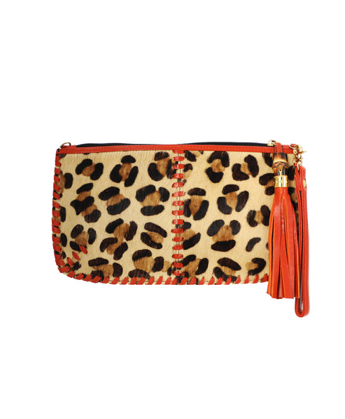 Zoom view for Leopard Print Calf Hair Clutch