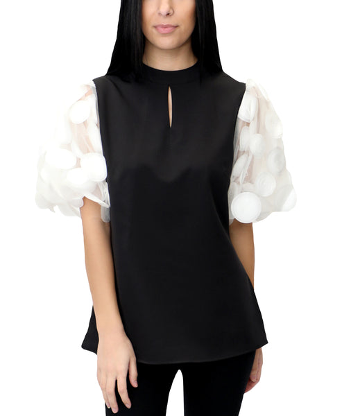 Zoom view for Blouse w/ Sheer Puff Sleeves