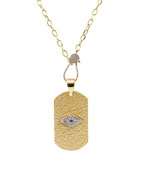 Zoom view for Hammered Dog Tag Necklace w/ Evil Eye ONLINE EXCLUSIVE - Fox's