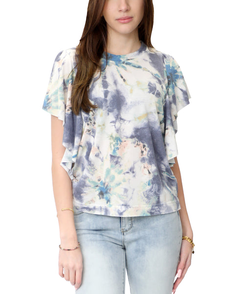 Zoom view for Tie-Dye Flutter Sleeve Tee