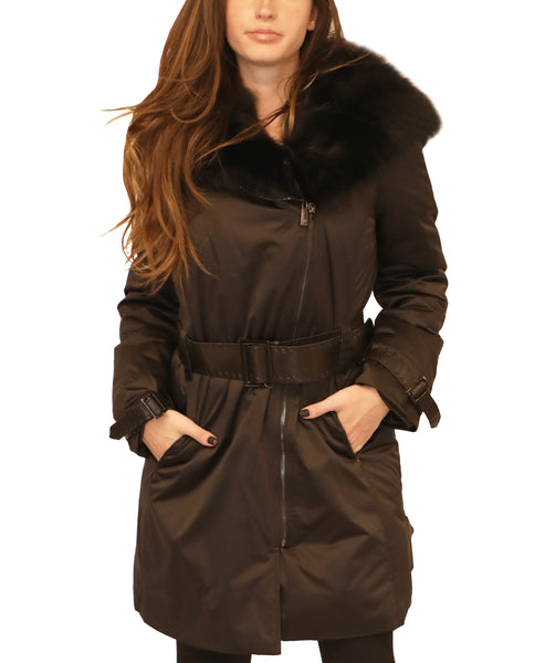 Microfabric Down Coat w/ Fox Fur Hood - Fox's