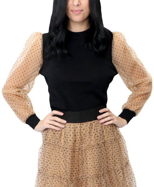 Zoom view for Top w/ Mesh Polka Dot Sleeves A