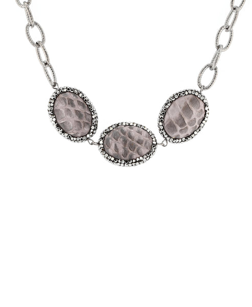 Zoom view for Chain Link Necklace w/ Faux Leather Accents - Fox's