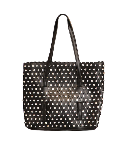 Studded & Rhinestone Tote Bag - Fox's