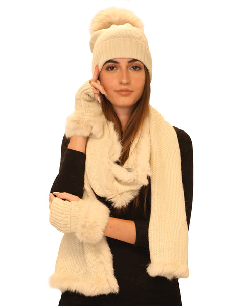 Fur Trimmed Hat, Glove & Scarf 3 Pc. Set - Fox's
