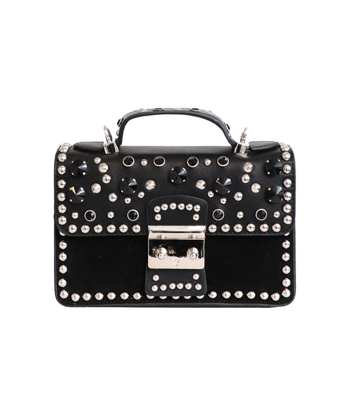 Top Handle Bag w/ Rhinestones & Studs