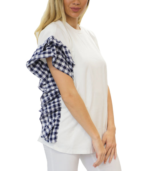 Zoom view for Check Ruffle Tee - Fox's