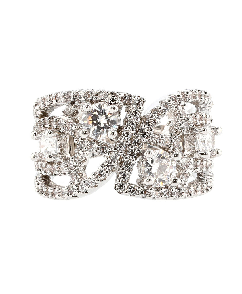 Cubic Zirconia Cut Out Ring