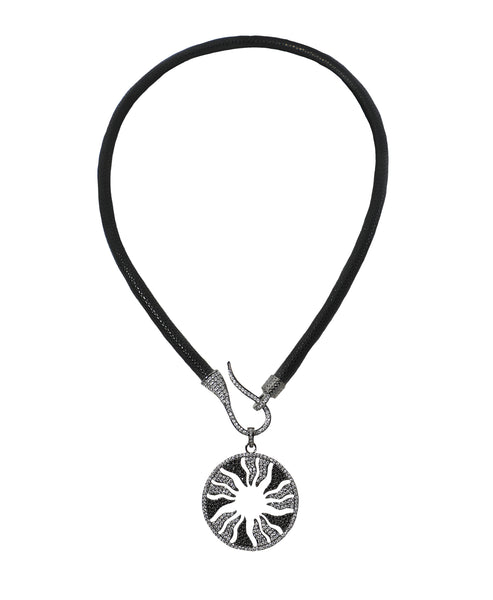 Textured Cord Necklace w/ CZ Disc ONLINE EXCLUSIVE - Fox's