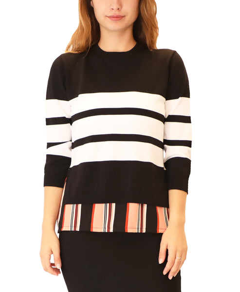Lightweight Sweater w/ Stripe Underlay