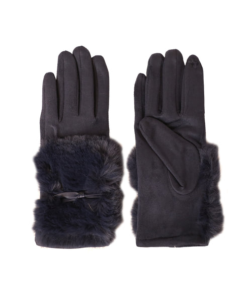 Faux Suede Gloves w/ Faux Fur Cuff and Bow Accent - Fox's