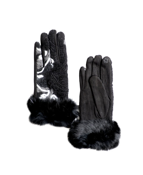 Zoom view for Gloves w/ Yarn Detail and Fur Trim