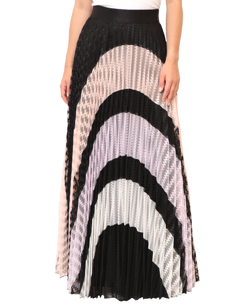 Pleated Colorblock Maxi Skirt