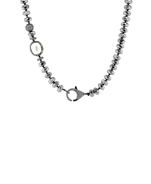 Zoom view for Hematite Beaded Necklace w/ Cubic Zirconia