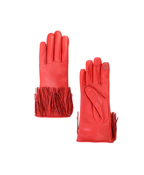 Zoom view for Touch Screen Leather Gloves w/ Fringe