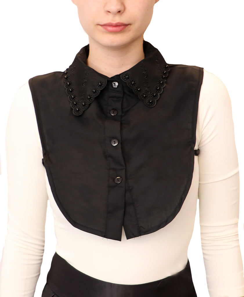 Embroidered & Pearl Collar Dickie