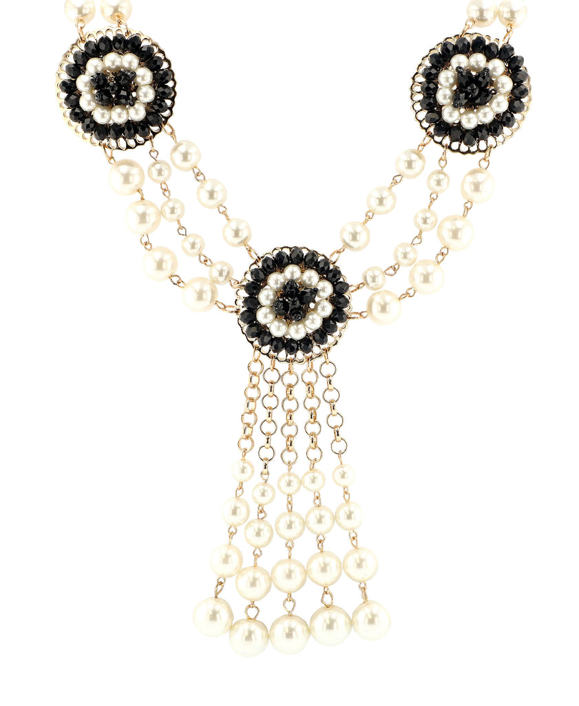 Medallion Necklace w/ Glass Pearls
