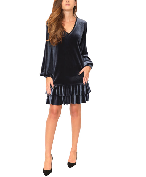 Velvet Dress w/ Tiered Ruffle Hem