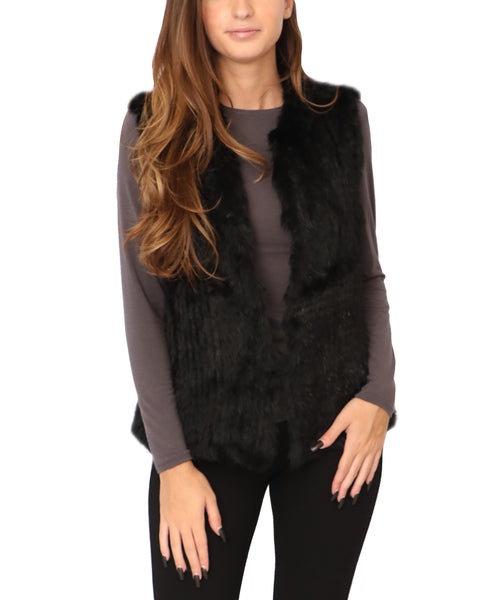 Knitted Rabbit Fur Vest - Fox's