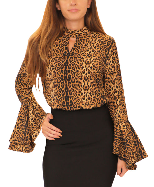 Leopard Print Blouse w/ Bell Sleeves