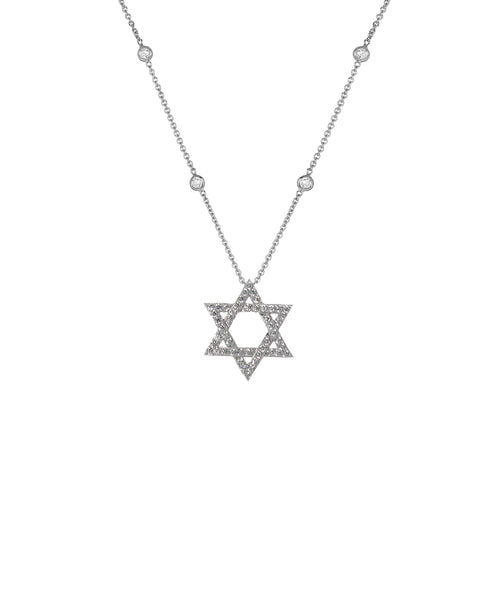 "Zoom view for ""Star of David"" Necklace w/ CZ's By The Yard - Fox's"