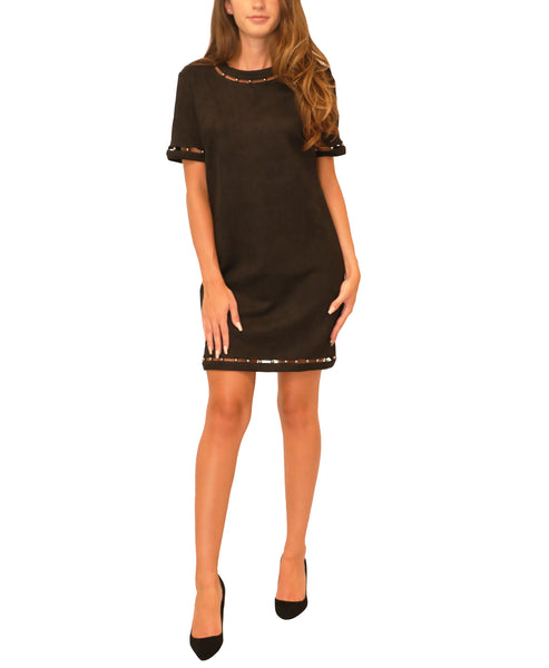 Faux Suede Dress w/ Stud Details - Fox's