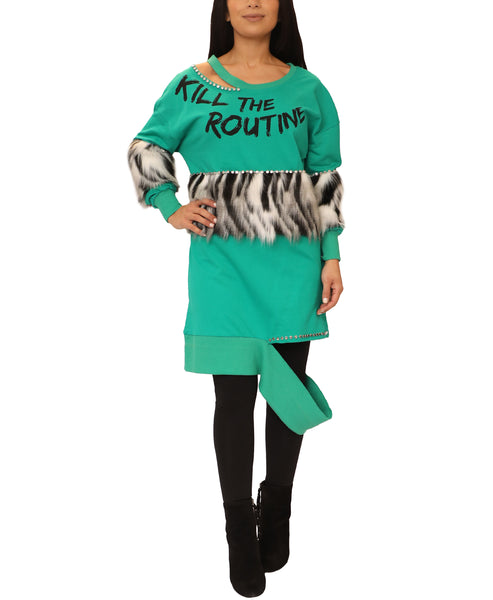 Tunic Top w/ Faux Fur Accents - Fox's