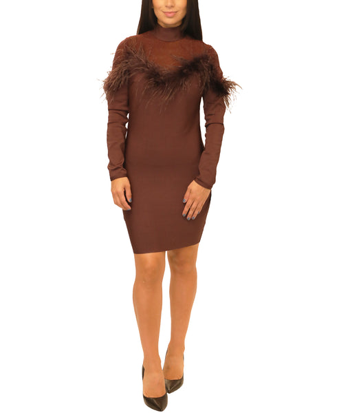 Bodycon Dress w/ Feathers & Shimmer - Fox's