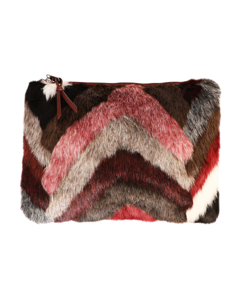 Faux Fur Chevron Clutch Bag