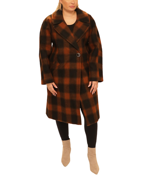 Extended Size Plaid Wool Coat - Fox's