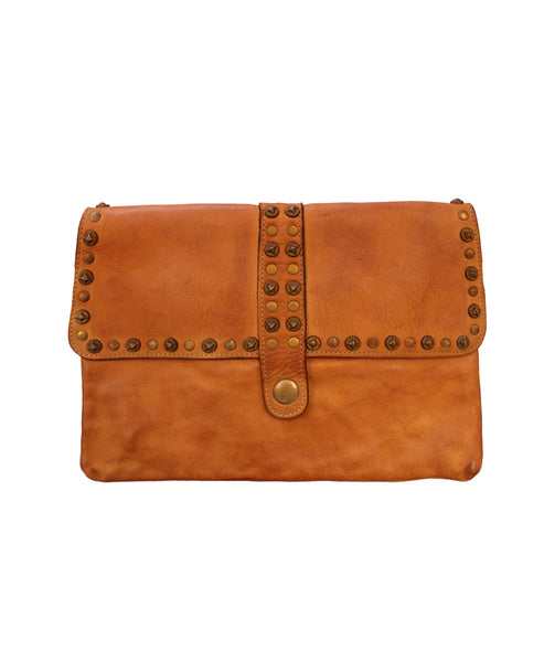 Distressed Leather Flap Handbag