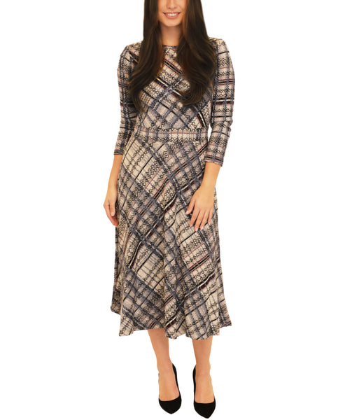 Fit & Flare Plaid Dress w/ Lurex Accents