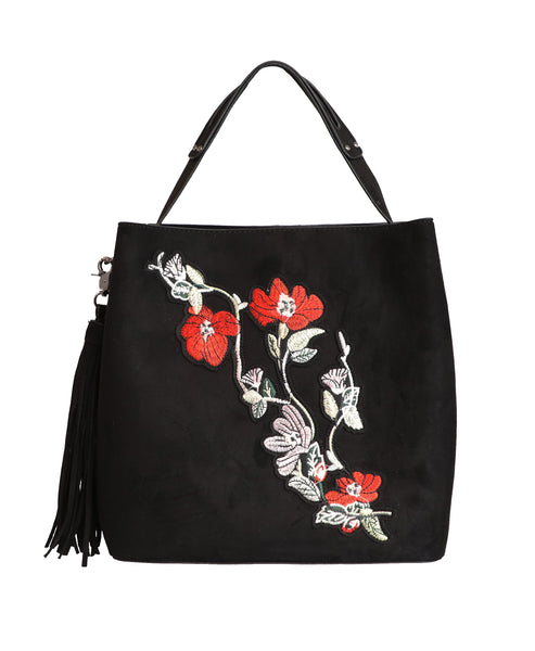 Bucket Bag w/ Floral Embroidery