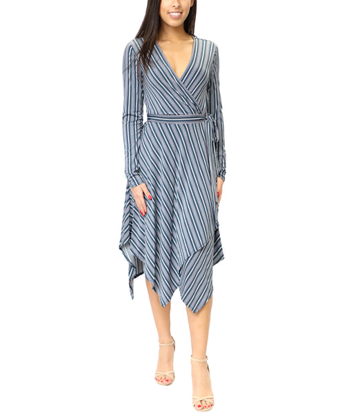 Zoom view for Wrap Stripe Dress