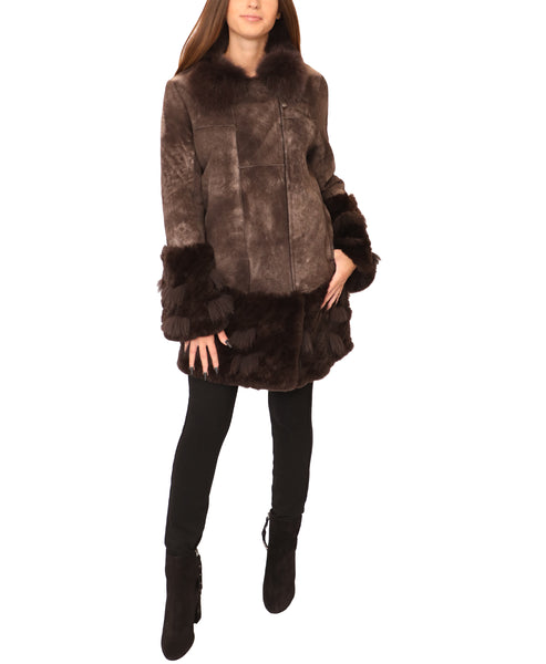Shearling Coat w/ Fox Fur Collar & Rex Rabbit Trim
