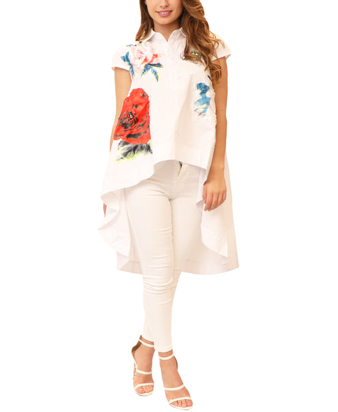 Hi-Lo Blouse w/ Floral Patches & Sequin